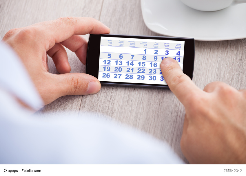 Businessman Touching Calendar Date On Mobile Phone