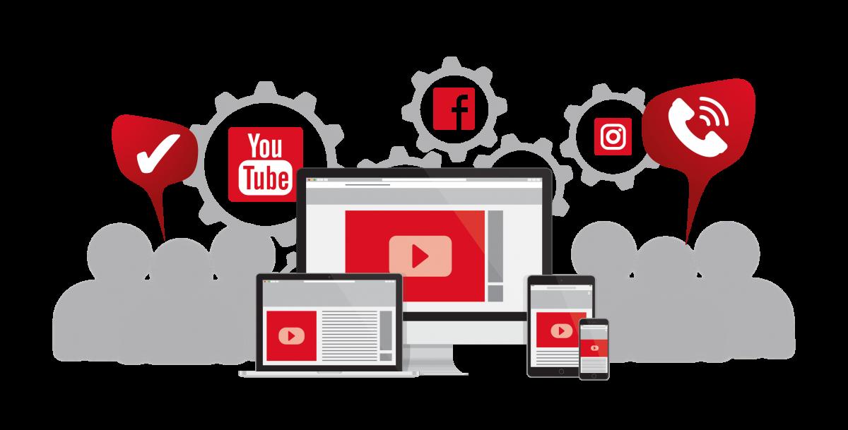 videos und ihr einsatz in der zahnarztpraxis - grafik mit logos youtube facebook instagram