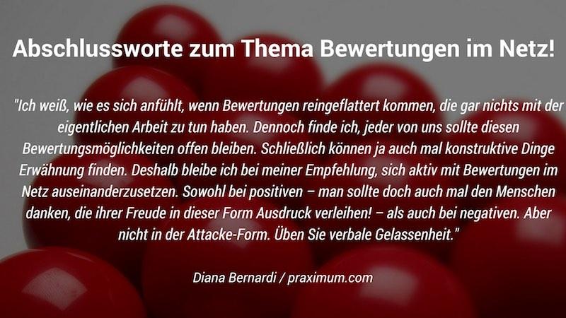 Diana Bernardi: Die Bewertung im Netz ist angekommen!