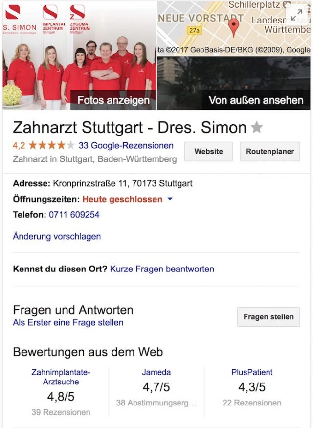 google my business simon stuttgart Bewertungen