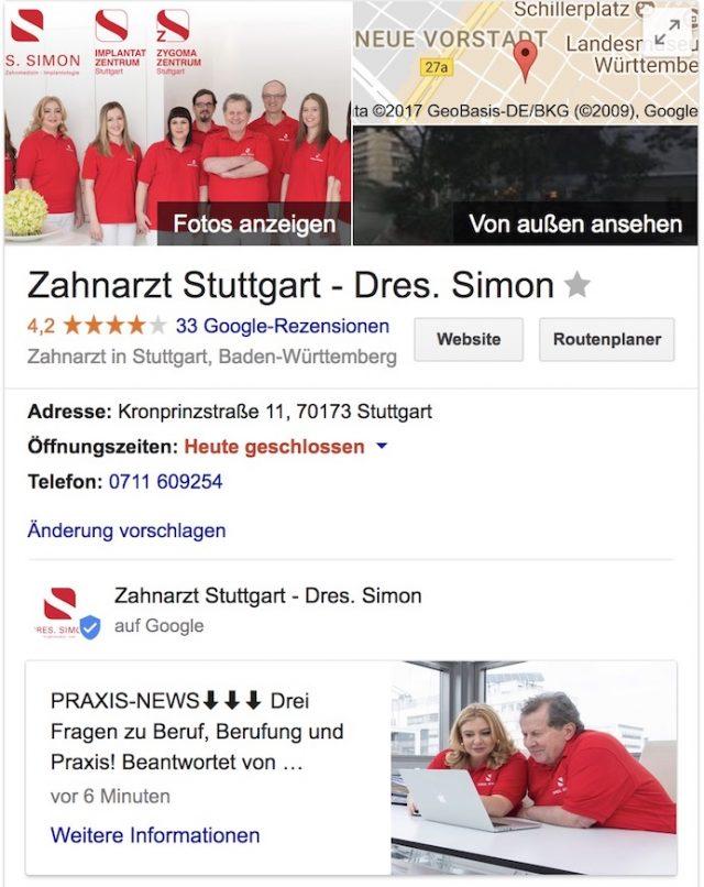 google my business simon stuttgart Beitrag