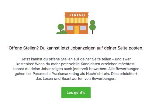 So sieht die Unterseite für Jobangebote auf deiner Facebookseite aus, wenn es noch keine Angebote gibt.