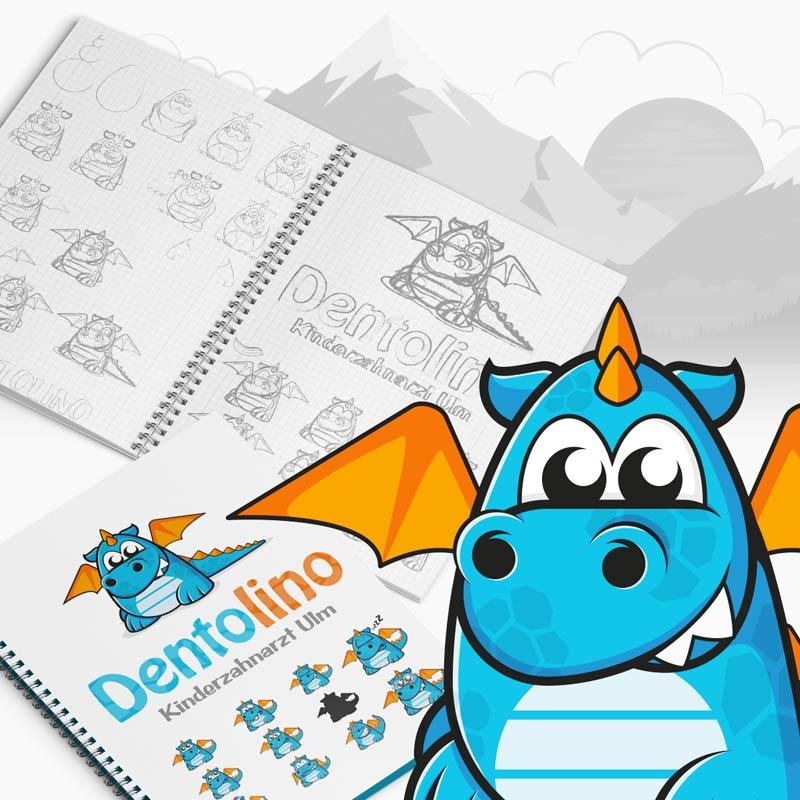 Der kleine Drache Dentolino ist Namensgeber und Logo der Kinderzahnarztpraxis Ulm. Ein Projekt der parsmedia Praxismarket