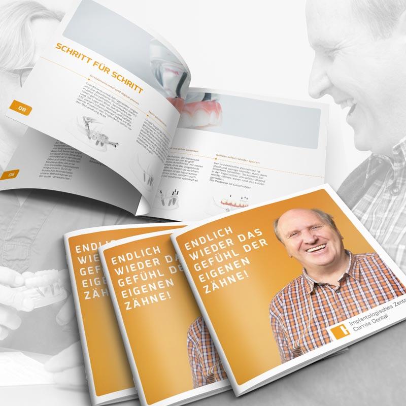 Broschüre zum Thema Fester Zahnersatz auf Implantaten für die Zahnarztpraxis Carree Dental in Köln. Ein Projekt der parsmedia Praxismarketing GmbH aus Magdeburg.