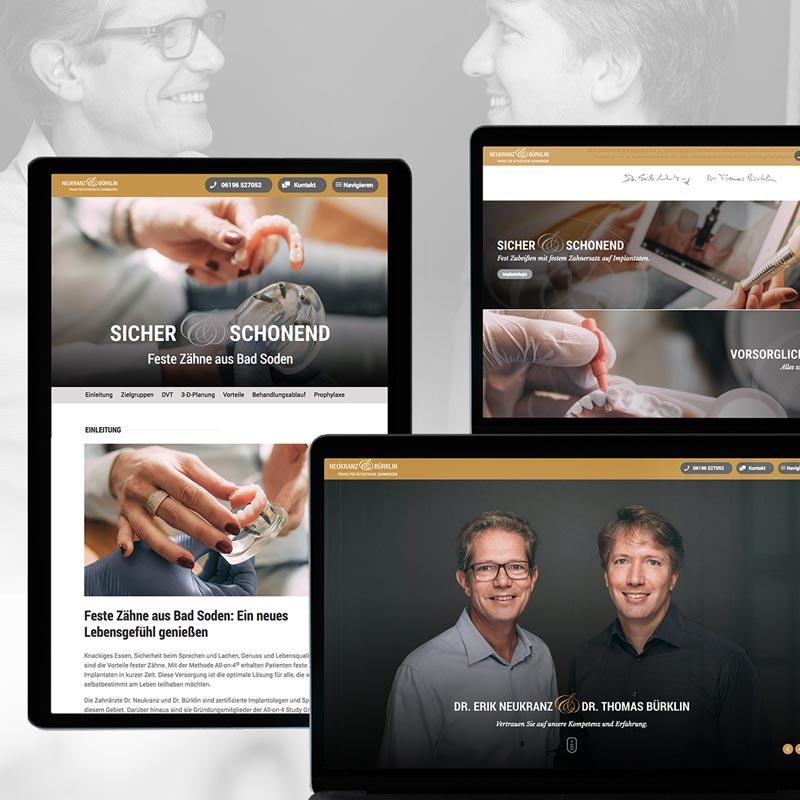 Internetseite der Zahnarztpraxis Neukranz und Bürklin in Bad Soden. Ein Projekt der parsmedia Praxismarketing GmbH.