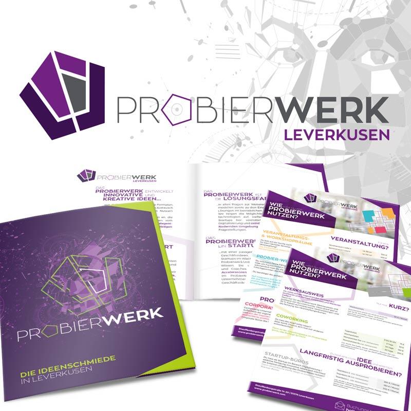 Das Probierwerk in Leverkusen: ENtwicklung von Logo und Corporate Design durch parsmedia Praxismarketing aus Magdeburg und Leverkusen.