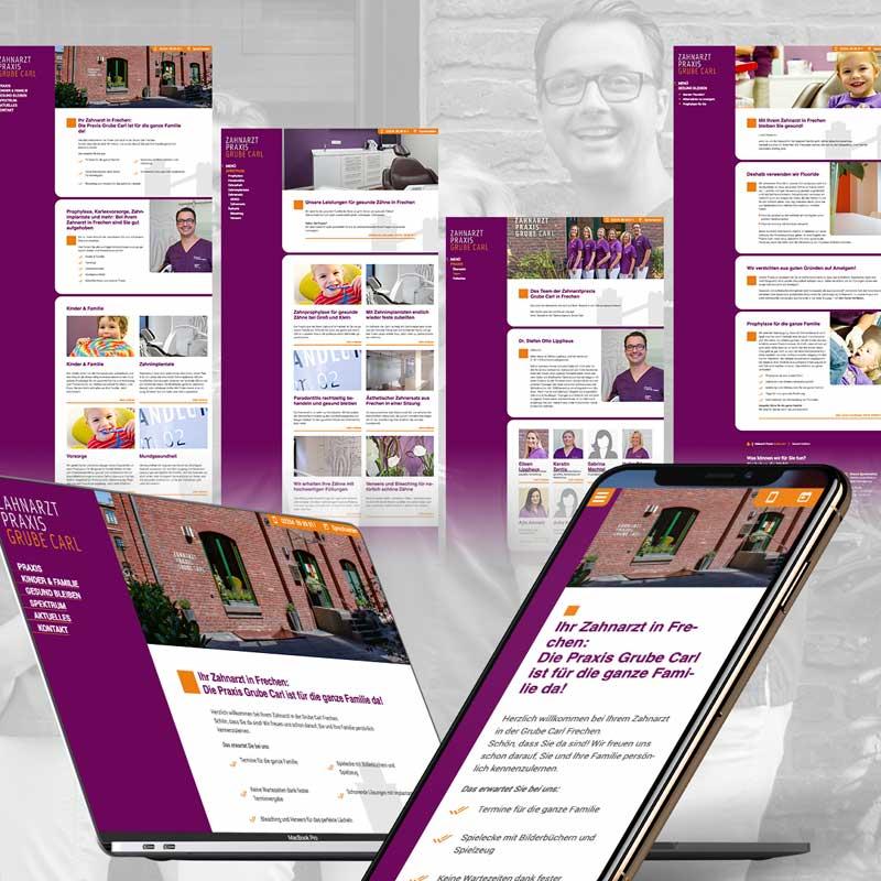 Websitegestaltung für die Zahnarztpraxis Grube Carl in Frechen. Ein Projekt von parsmedia Praxismarketing für Zahnarzt Dr. Lipphaus.