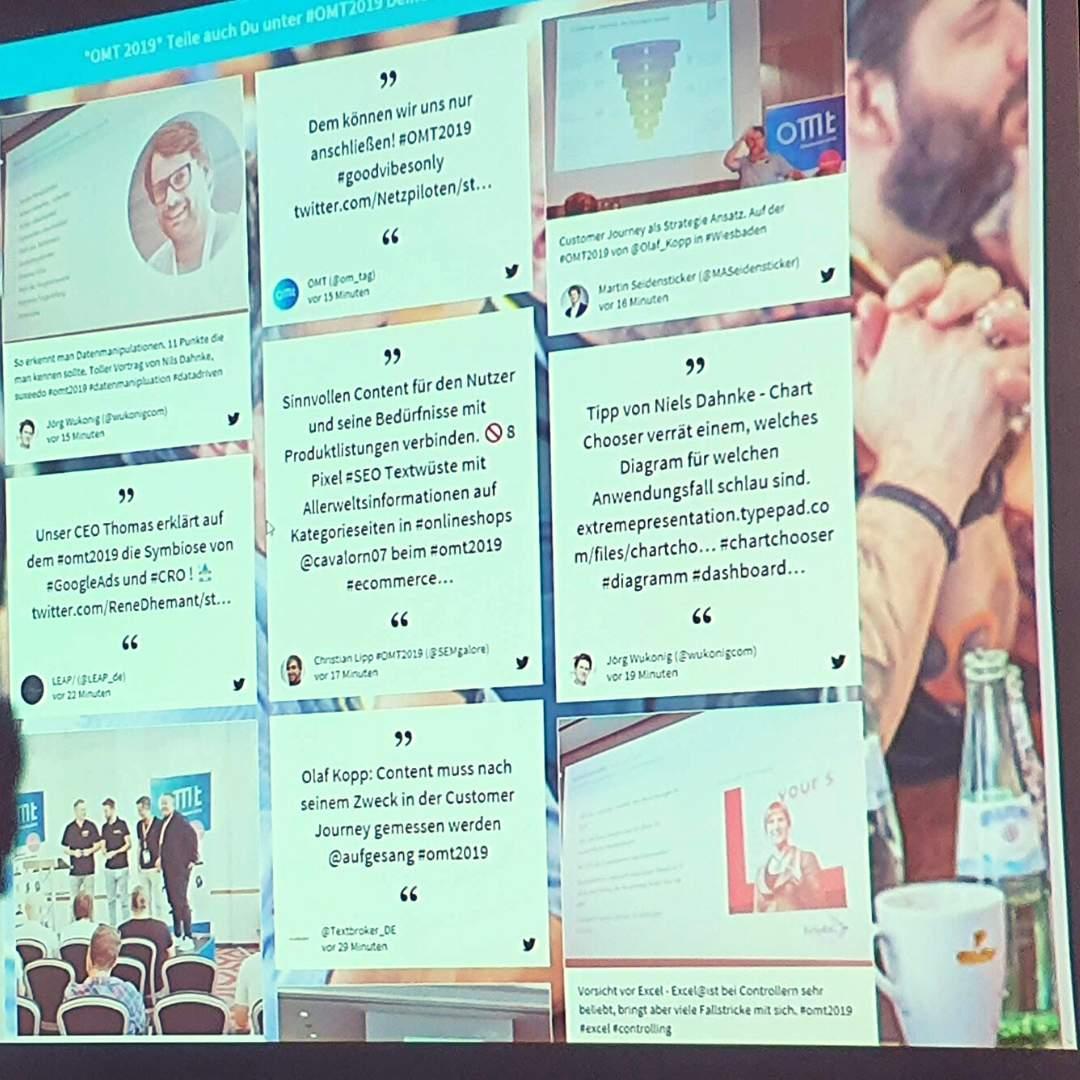 Social Wall des OMT 2019. Themen rund um das Onlinemarketing in Wiesbaden.