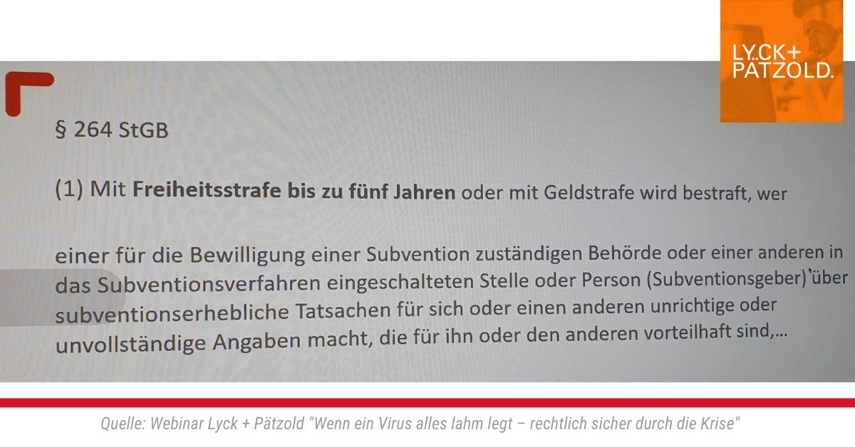 """Webinar Lyck + Pätzold """"Wenn ein Virus alles lahm legt – rechtlich sicher durch die Krise"""""""