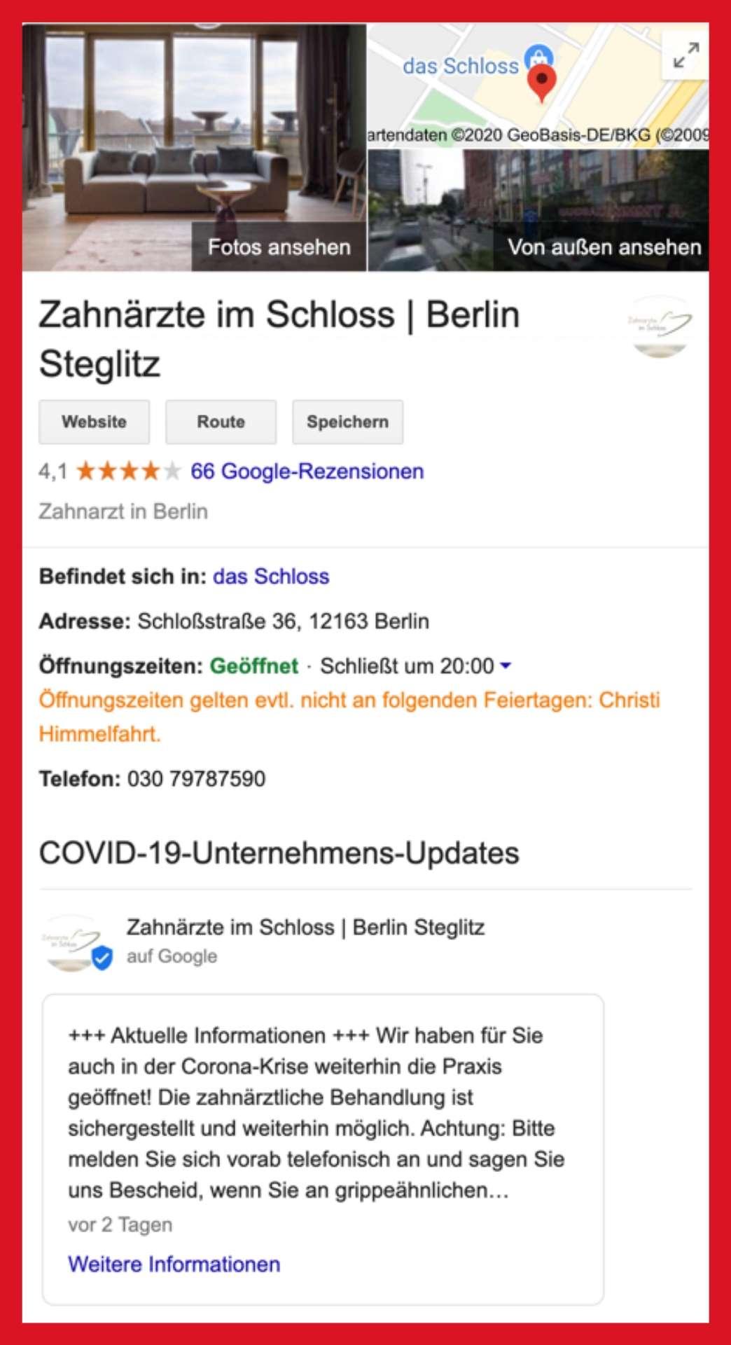 Google my Business Profil der Zahnärzte im Einkaufszentrum Schloss Berlin-Steglitz