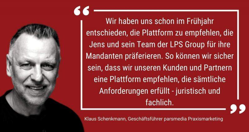Klaus Schenkmann, Geschäftsführer parsmedia Praxismarketing. Empfehlung Videosprechstunde für die Zahnarztpraxis.