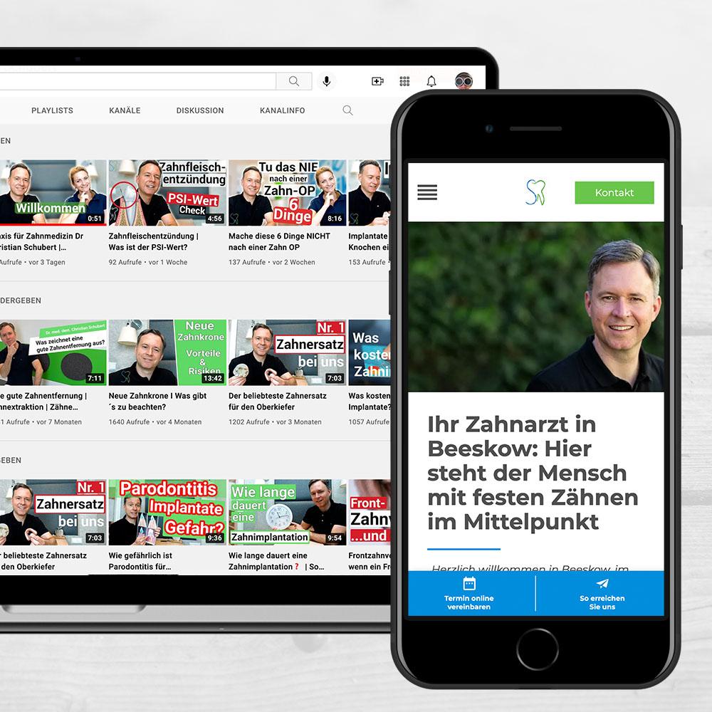 Website Zahnarztpraxis Schubert in Beeskow. Relaunch durch parsmedia Praxismarketing GmbH.